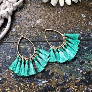 Jewelry - Green Tassel Earrings
